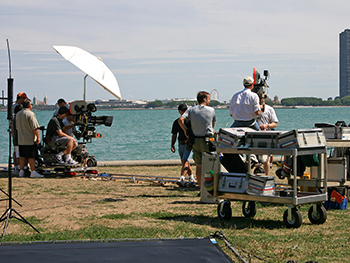 video production company crew on the Miami water
