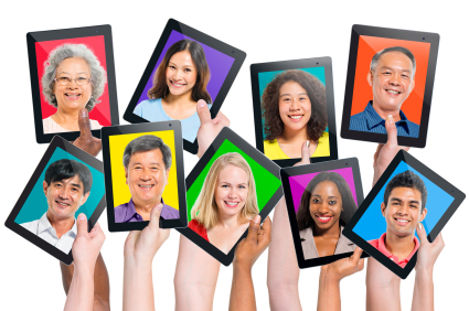 Multi-ethnic casual people on the screen social media video marketing