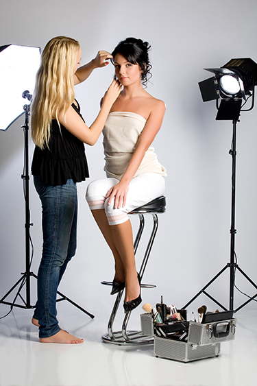 Make-up and hair on a video production set