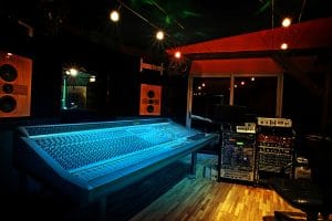 Mixing console in recording studio