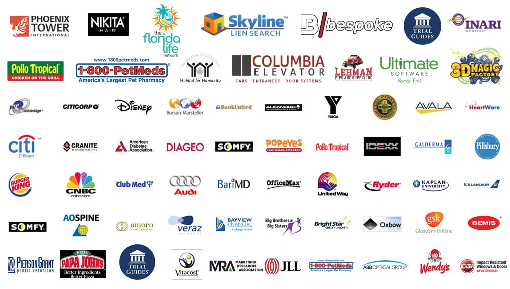 Our Miami video production companies client logos